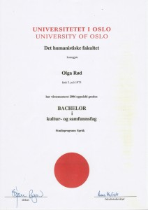 UiO Bachelor Olga Rød